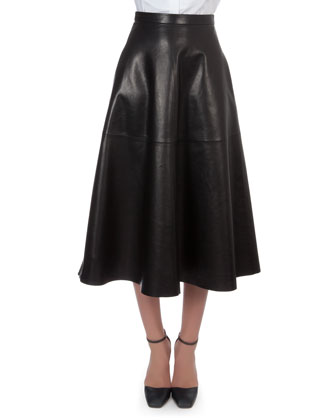 Organza-Collar Cotton Blouse, Long Leather Flare Skirt & Fringe Leather Overlay