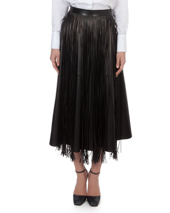 Fringe Leather Overlay for Skirt