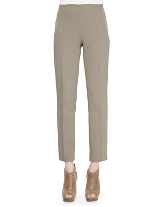 Seam-Front Straight-Leg Pants