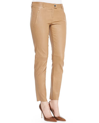 Skinny Lambskin Leather Pants, Caramel