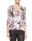 Floral-Print Knit 3/4-Sleeve Cardigan