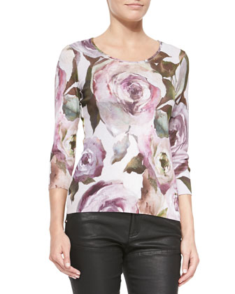 Removable-Sleeves Fur-Trim Coat, Floral-Print Knit 3/4-Sleeve Top & ...