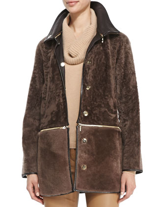 Fur Jacket with Zip-Off Bottom, Pine