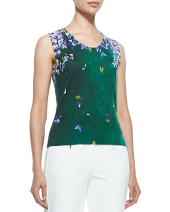 Scoop-Neck Floral Tank, Green/Violet