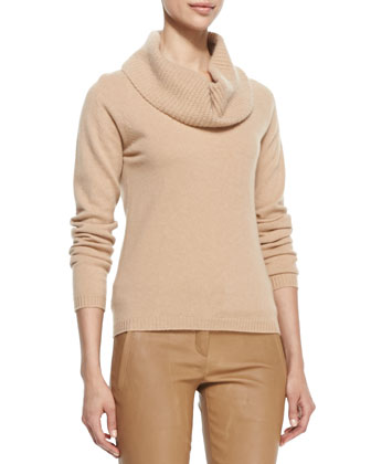Long-Sleeve Cowl Cashmere Sweater, Caramel