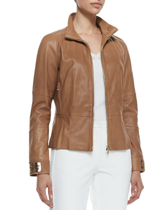 Zip-Up Leather Jacket, Caramel