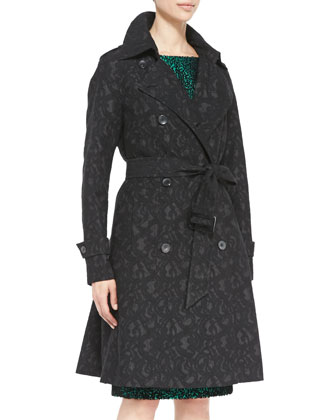 Double-Breasted Patterned Trench Coat & Cap-Sleeve Sheath Dress