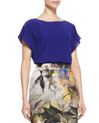 Loose-Fit Cap-Sleeve Blouse & Abstract Floral Jacquard Pencil Skirt