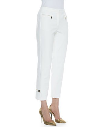 Cropped Stretch Cady Zip-Pocket Pants, Off White