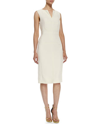 Scalloped-Hem Topper Jacket & Sleeveless Split-Neck Sheath Dress