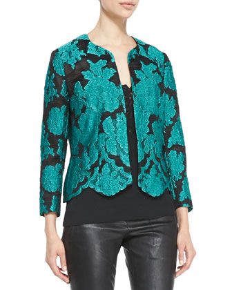 Lace Brocade Topper Jacket, Malachite