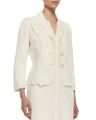 Scalloped-Hem Topper Jacket