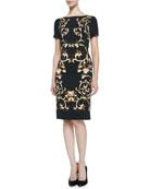 Sleeveless Baroque-Print Sheath Dress, Black