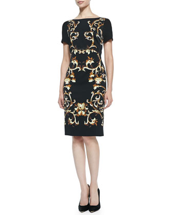 Sleeveless Baroque-Print Sheath Dress, Black