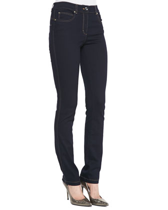 Skinny-Leg Stretch-Denim Pants, Dark Blue