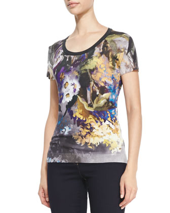 Abstract Floral-Print Wool-Silk Tee