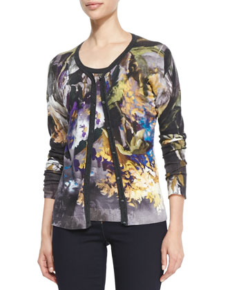 Abstract Floral-Print Wool-Silk Cardigan
