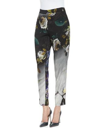 Sleeveless Loose-Fitting V-Neck Blouse & Straight-Leg Floral Pants