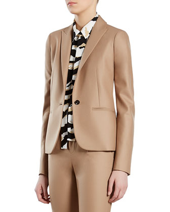 Beige Stretch Flannel Jacket, Pants & Tiger-Print Crepe de Chine Shirt