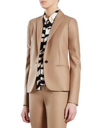 Beige Stretch Flannel Jacket
