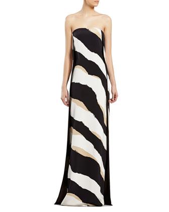 Zebra Print Silk Strapless Gown