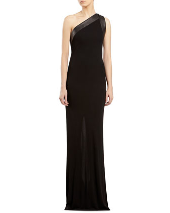 Black Stretch Jersey One-Shoulder Gown