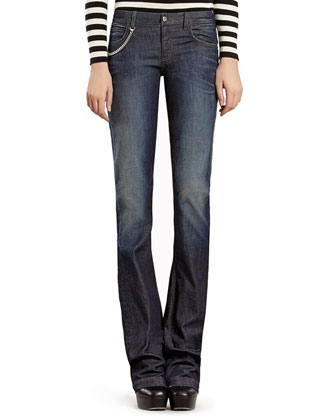 Blue Stonewashed Stretch Denim Flare Jeans