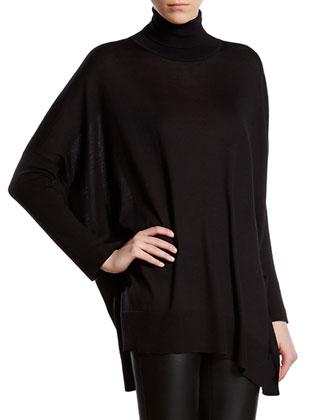 Black Silk Cashmere Blend Oversized Sweater