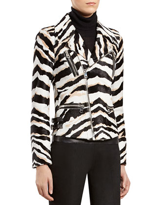 Tiger Print Biker Jacket, Black Cashmere Ribbed Cashmere Turtleneck & Black ...