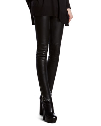 Leopard Print Silk Cape Shirt & Black Stretch Leather Leggings