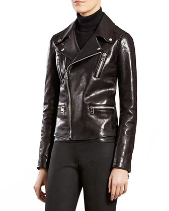 Black Leather Biker Jacket, Black Cashmere Ribbed Cashmere Turtleneck ...