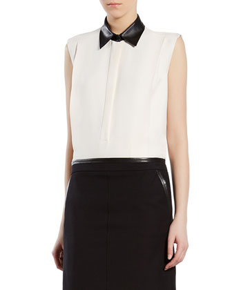 White Silk Shirt with Leather Collar
