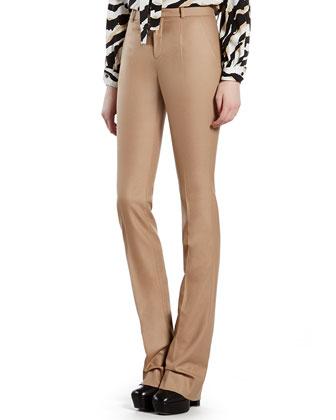Beige Stretch Flannel Jacket, Pants & Tiger-Print Crepe de Chine Shirt