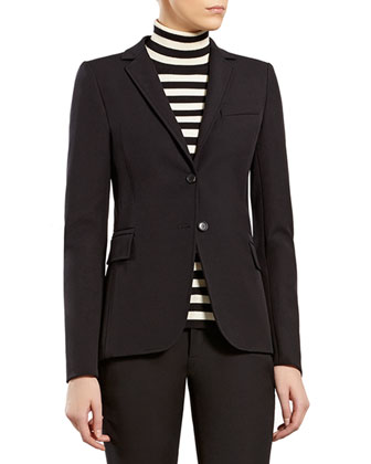 Black Riding Jacket, Striped Silk Cashmere Turtleneck Sweater & Black ...