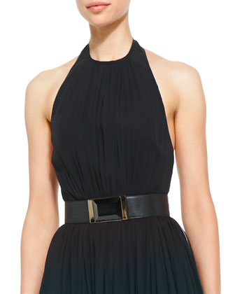 Halter-Top Gown & Lambskin Leather Belt