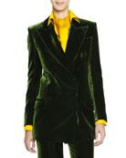 Silky Velvet Wide-Lapel Jacket