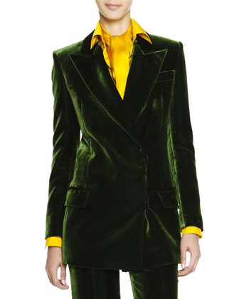 Silky Velvet Wide-Lapel Jacket, Scarf-Neck Silk Charmeuse Blouse & Wide-Leg ...