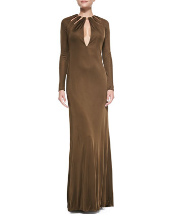Long-Sleeve Chain-Collared Satin Gown, Brown