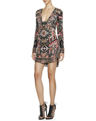Long-Sleeve Beaded Southwestern-Print Dress