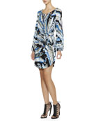 Long-Sleeve Feather-Print Dress with Chain-Strung Neck
