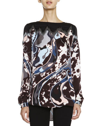 Mixed-Print Silk Charmeuse Top