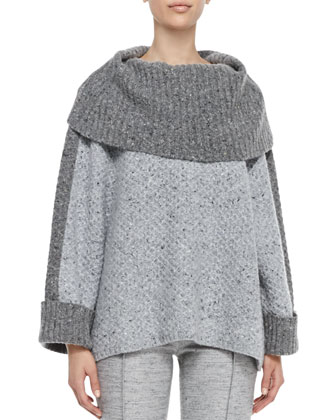 Turtleneck Box Sweater, Light Gray
