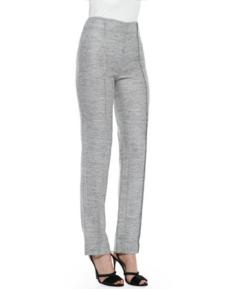 Melange Tweed Trousers, Light Gray