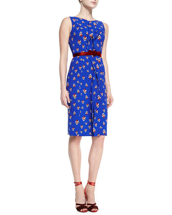 Sleeveless Diamond-Print Dress, Cobalt Blue