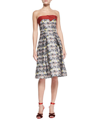 Strapless Marble-Print Flare Dress, Black/Gray/Multi