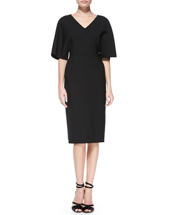 Kimono-Sleeve Double-Face Dress, Black