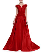 Off-the-Shoulder Faille Ball Gown, Lipstick Red