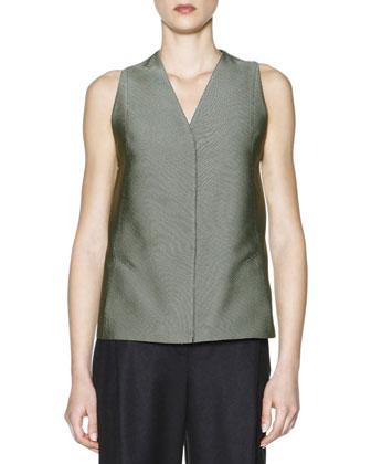Fold-Collar Long Plisse Jacket, Jacquard Seamed-Back Vest & Soft ...