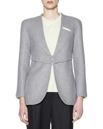 Contrast-Lined V-Neck Jacket, Cashmere Interlock Sheer-Inset Top & Soft ...