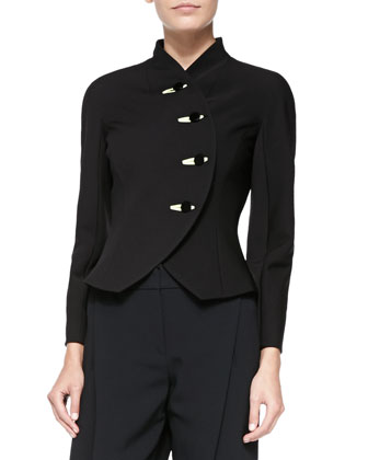Satin-Trim Rounded-Lapel Jacket & Crepe Cady Invert-Pleat Ankle Pants